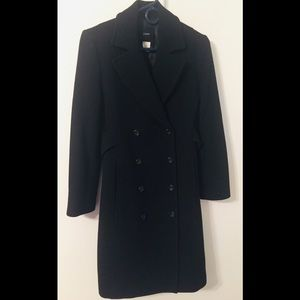 J. Crew Black Wool Blend Double Breasted Trench 2